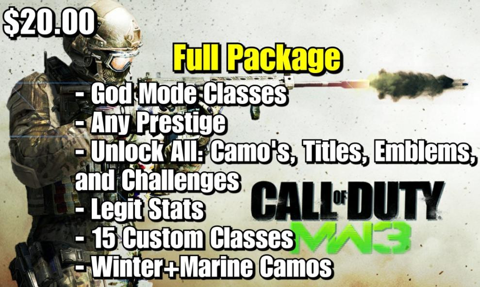 $20 - MW3 Full Package (Prestige, GodMode, Unlock All, and More!) cover